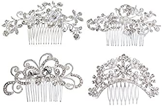 ANBALA 4 Pack Bridal Wedding Hair Comb Bridal Hair Clip Crystal Rhinestones Pearls Women Wedding Hair Comb Wedding Decoration Headpiece for Brides Silver