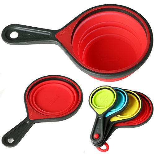 TRIXES 4 Collapsible Silicone Measuring Cups Spoons for Baking and Cooking - Accurate Measure Folding Kitchen Utensil Set - Measurement Equipment for Dry and Liquid Ingredients - Multicolour