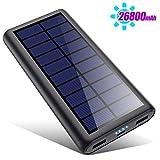 2020年最新版 モバイルバッテリー ソーラー 26800mAh ソーラーチャージャー 大容量 ソーラー充電器 急速充電 2USB出力ポート 地震/災害/旅行/出張/アウトドア活動など iPhone/iPad/Android各種対応