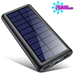 Solar Power Bank 26800mAh, HETP 【2020 Newest Solar Portable Charger】 Portable Charger External Backup Battery Pack with… 2
