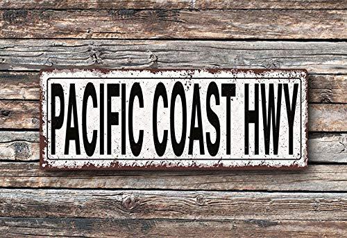 Yilooom - Placa de Metal para la Calle de la Costa del Pacífico, Estilo rústico y Vintage para decoración de Pared, Metal, 4 x18 Inches (10 x 45cm)