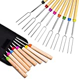 Ezire Marshmallow Roasting Sticks, Extendable Telescoping Smores Skewers for Fire Pit Campfire BBQ Hot Dog Marshmellow 32 Inch, 8Pcs
