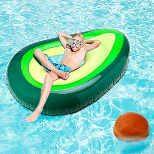 Hairizone Inflatable Avocado Pool Float, Giant Airbeds with Ball for Pool Party and Beach Swimming Raft