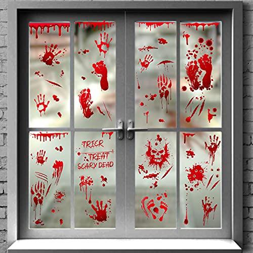 Naklejki na okno krwawe Halloween, 95 szt. krwawe odręczne dekoracje halloweenowe, naklejki na okna, naklejki ścienne do łazienki, dekoracje na Halloween