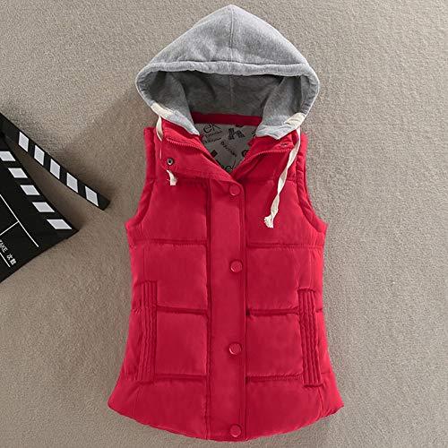 Damen Weste Steppweste,Damen Rot Daunenhaube Weste Warmer Puffermantel Mit Knöpfen Taschen Wintermode Jacke Für Outdoor-Aktivitäten, 4XL