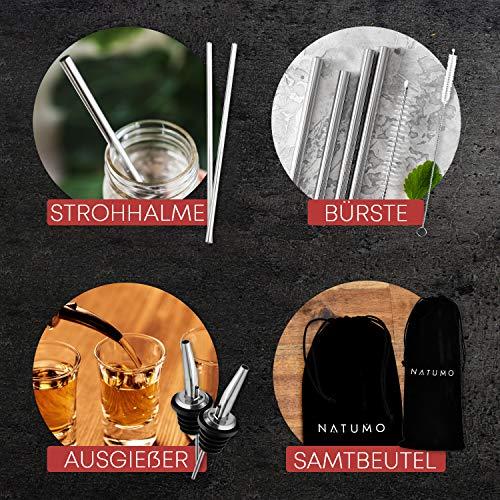 NATUMO ® Cocktail Shaker Set Edelstahl - 10 teiliges Cocktailshaker Set, Cobbler Shaker, Doppel-Messbecher, Stößel, Dosierer, Löffel, Strohhalme - 7