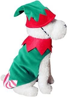Isshe Christmas Dog Cat Clothing Warm Winter Polyester T-Shirt Puppy Festival Costume for Small Medium Dogs Cat