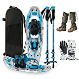 Lightweight Snowshoes for Women Men Adults Youth - Light Weight Aluminum Alloy Terrain Snow Shoes with Trekking Poles, Leg Gaiters, Gloves and Carrying Tote Bag,Blue,25 inches