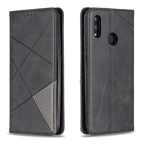 Docrax Huawei P Smart 2019/Honor 10 Lite Handyhülle, Hülle Leder Case mit Standfunktion Magnetverschluss Flipcase Klapphülle kompatibel mit Huawei PSmart 2019 - DOBFE190328 Schwarz
