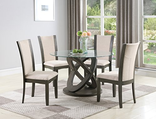 Roundhill Furniture 5-Piece Cicicol Glass Top Dining Table with Chairs