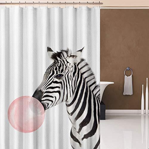 FORHAPPY Duschvorhang Tier Flamingo Katze Zebra Duschvorhang Badezimmer wasserdicht Polyester Nebel Vorhang Giraffe Elch mit Haken Bad