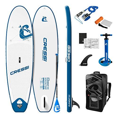 Cressi Element Isup Set 10'2'' Sup Hinchable clásico con Shape All Round, Estable y manejable, Unisex-Adult, Blanco/Azul, One Size