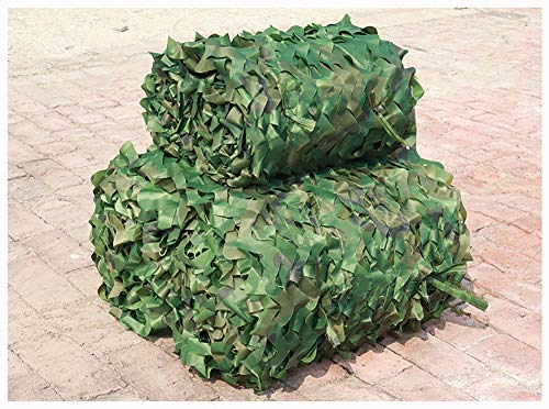 Camo Netting with Mesh Backing, 6X8m(20ft X 26ft) Woodland - Jungle Camouflage Netting Cover for Outdoor Camping Military Hunting Party Decoration Courtyard Garden Hide Car or Bike Camo Shade Netting
