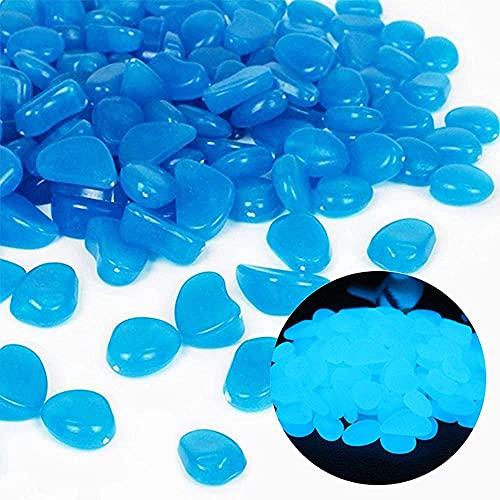 HBSTK 300 Piezas de Piedra Luminosa Azul, Piedra Luminosa para Pasarela de jardín, Piedras Decorativas de jardín para pasarelas, decoración al Aire Libre, Acuario, Camino, césped, jardín