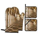 Juego de 4 Guantes y Porta ollas para Horno Resistentes al Calor Columnas Antiguas Arcos Venecia Piazza San para Hornear en la Cocina,microondas,Barbacoa