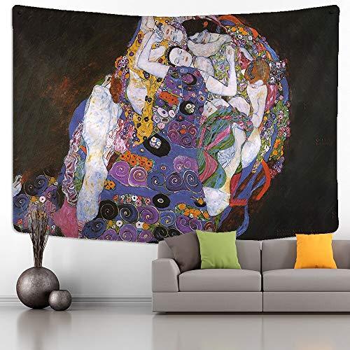 Tapiz de Gustav Klimt, montaje en pared, beso dorado, abstracto Art Deco, hogar, dormitorio, arte, fondo, tapiz de tela a7, 73x95cm