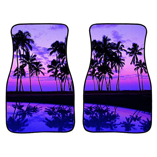 UNICEU Tropical Palm Trees Purple Sunset on Ocean Beach Nature Print Floor Mats Set for Car SUV Truck & Van 2 PCS for Front Seat Only,All Weather Guard