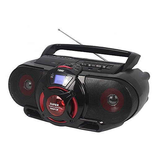 Naxa Electronics NPB-273 Portable Bluetooth, MP3 CD AM FM Stereo Radio Cassette Player Recorder with Subwoofer and USB Input Boombox