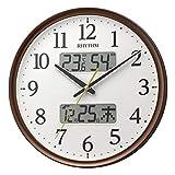 リズム(RHYTHM) 掛け時計 電波 アナログ 連続秒針 温度 湿度 カレンダー 茶 Φ35x5.3cm 8FYA03SR06