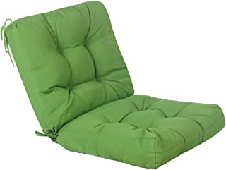 QILLOWAY Outdoor Seat/Back Chair Cushion Tufted Pillow, Spring/Summer Seasonal Replacement Cushions. (Green)
