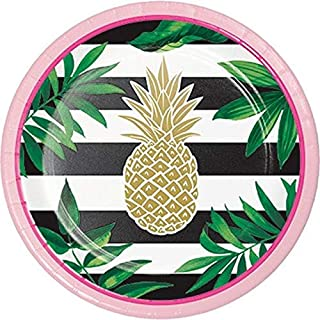 Creative Converting Pineapple Wedding Foil Stamp Party Lunch Plates, 0.5x6.875x6.875in, Multicolor