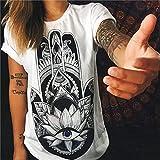 XIAOBAOZITXU Camiseta De Verano Mujer Vintage Impreso O-Cuello Manga Corta Camiseta De Mujer Camisetas Tops Tallas Grandes Mujer Ropa C Mandala Palma L