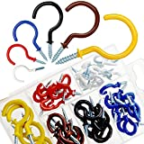 <span class='highlight'><span class='highlight'>Akuoly</span></span> Screw-in Hooks 6 Sizes Vinyl Coated Cup Hook Set 58PCS Ceiling Screw Hooks Colorful Screw Hangers for Hanging Plants, fairy lights and more, 1/2, 5/8, 3/4, 7/8, 1, 9/ 8 inches