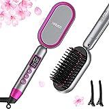 HAUEA Hair Straightener Brush Ceramic Ionic Straightening Comb, 30s Fast Heating & 14 Temp Settings & Anti-Scald & Auto-Off, Hot Comb Hair Straightening Brush for Short & Long Thick Hair