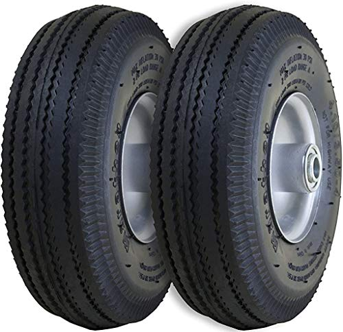 Marathon 2-Pack 4.10/3.50-4' Pneumatic (Air Filled) Hand Truck / All Purpose Utility Tires on Wheels, 2.25' Offset Hub, 5/8' Bearings