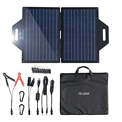 TP-solar 60 Watt Foldable Solar Panel Charger Kit for Portable Generator Power Station Smartphones Laptop Car Boat RV Trailer 12v Battery Charging (Dual 5V USB & 18V DC Output)