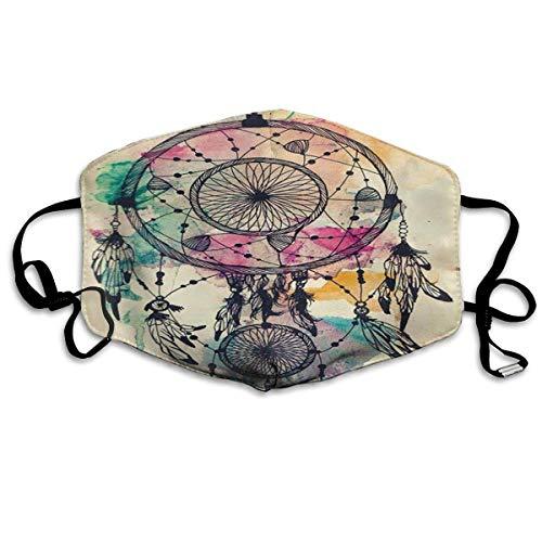 Mundabbedekking Kleurrijke dromenvanger Retro Vintage Native American Style veer oorlussen gezichtsbescherming mond sjaal