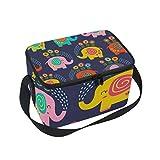 Bolsa térmica para almuerzo, diseño de elefante con flores coloridas con correa para la escuela, oficina, picnic, para hombres, mujeres, adultos y niños