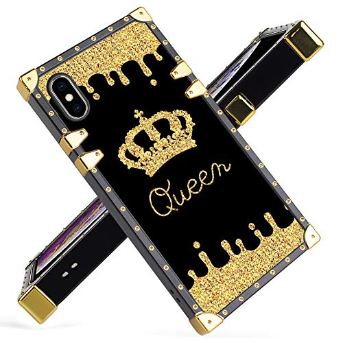 Fiyart iPhone Xs Max Case Luxury Queen Golden Crown Gold Glitter Square Soft TPU Wrapped Edges and Hard PC Back Stylish Classic Retro Case 6.5 inch