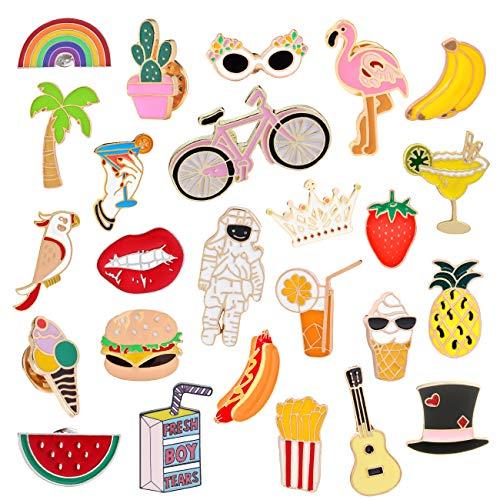 EuTengHao 25 Pieces Cute Enamel Lapel Pin Set Cartoon Brooch Pin Badges Brooch Pins for Clothing Bags Jackets Accessories Supplies DIY Crafts