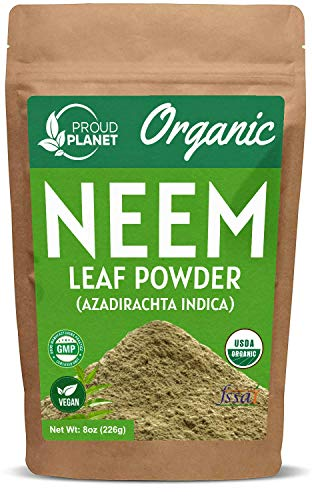 Organic Neem Leaf Powder for Skin, Hair and Blood 8oz (226g) | Azadirachta Indica | USDA Certified by Proud Planet