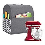 Yarwo Stand Mixer Cover Compatible with 4.5 qt and All 5 qt KitchenAid Mixer, Protective Dust Cover with Top Handle and Pockets for Accessories, Gray with Grid