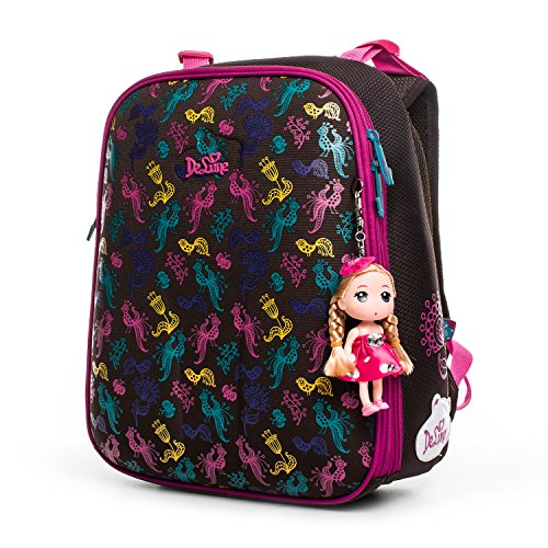 Delune Elementary School Backpack for Girls with Lovely Cartoon Doll Water-resistant Cartoon Robot Printing Bookbag for Primary School Girls(Red)