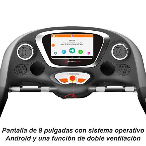 "Cinta de correr profesional Sportstech F38 con pulsera de actividad incluida, pantalla táctil de 9""con sistema operativo Android, WiFI, velocidad máxima 20 km/h, inclinación max 15%, plegable"
