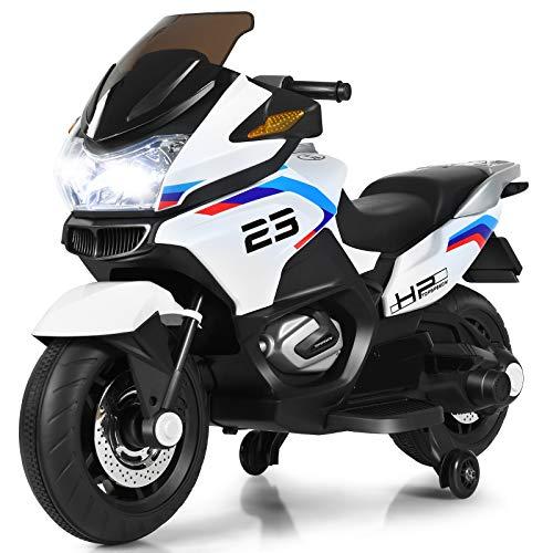 COSTWAY 12V Elektro Polizei Motorrad mit LED Scheinwerfer, Musik, Pedal, Vor- und Rückwärtsgang, Kindermotorrad mit Stützrädern, Elektromotorrad 3-7 km/h, für Kinder ab 3 Jahren (Weiß)