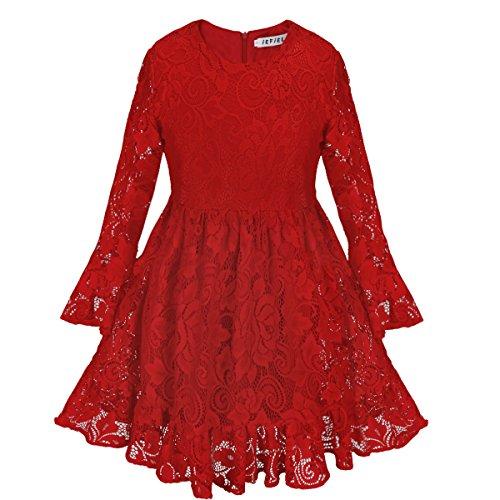 iEFiEL Mädchen Prinzessin Kleid Festlich Hochzeit Langarm Weihnachtskleid Kinder Partykleid Weihnachten Festzug Kleidung Gr. 92-128 Rot 110