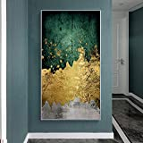 N / A Pintura sin Marco Golden Green Modern Abstract Nordic Wall Art on canvasZGQ7538 30x45cm