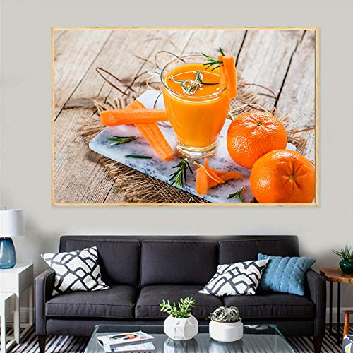 POTYX Kreative Leinwand Poster, Orangensaft Trinken Malerei, für Wohnzimmer Dekoration-60x80cm_No_Frame