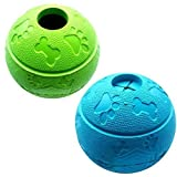 Feixun Dog Treat Toy Ball, Dog Rubber Food Ball, Interactive Dog Toy, Pack of 2(1*Blue+1*Green) 8.1cm