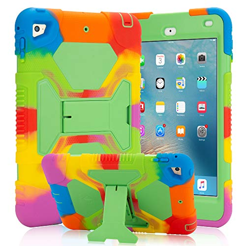 iPad Mini 5 Case (2019) iPad Mini 4 Case for Kids with Adjustable Kickstand Hybrid Three Layer Heavy Duty Cover Case with Shockproof for iPad Mini 4th/ 5th Generation (Rainbow Green)