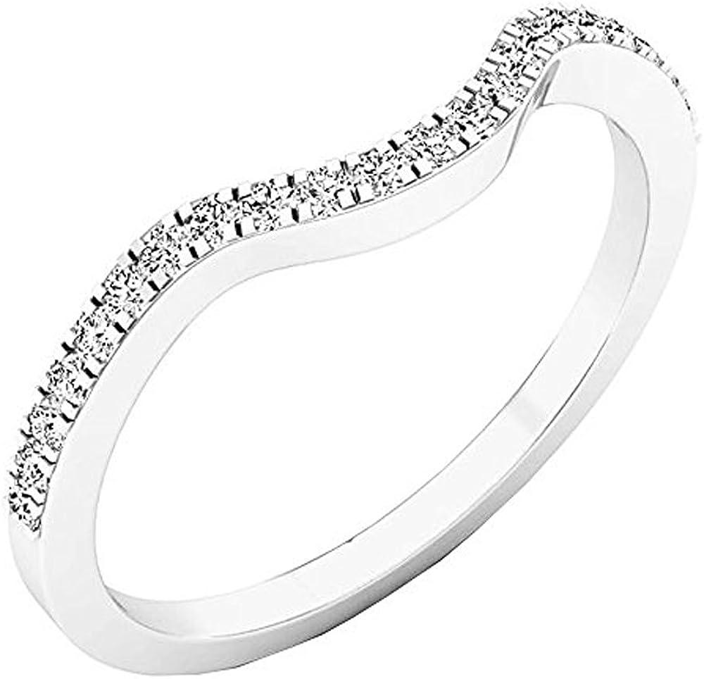 0.15 Carat (ctw) 14K Gold Round White Diamond Anniversary Ring Wedding Guard Band
