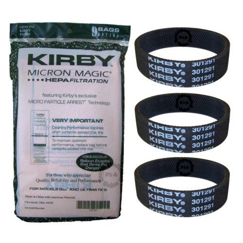 Kirby Original Micron Magic HEPA Filter - Filtertüten 9er Pack + 3 Flachriemen Serie G6 - G7 Ultimate (197301+301291)