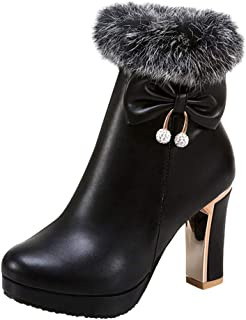 Women Winter Warm Boots, Ladies Solid Round Toe High Heel Shoes Side Zipper Short Boots Ankle