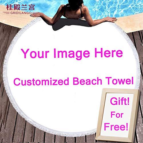 COEYU Beach handdoek aangepaste foto ronde strand handdoeken met kwastjes microvezel bad handdoek sjaal voor volwassenen paar kinderen cadeau Dropshipping