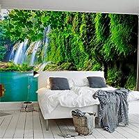 Clhhsy カスタマイズされた大きな壁画ステレオ風景滝風景3D新鮮な緑のテレビの背景の壁-250X175Cm