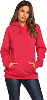 Qearal Women Fleece Pullover Hoodies Drawstring Oversized Hooded Sweaters Sweatshirts with Pockets